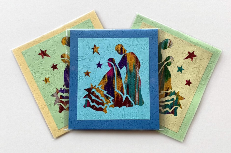 Håndlavede julekort (krybbe)